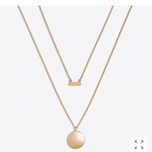 Jcrew Factory gold disc and bar layering necklace